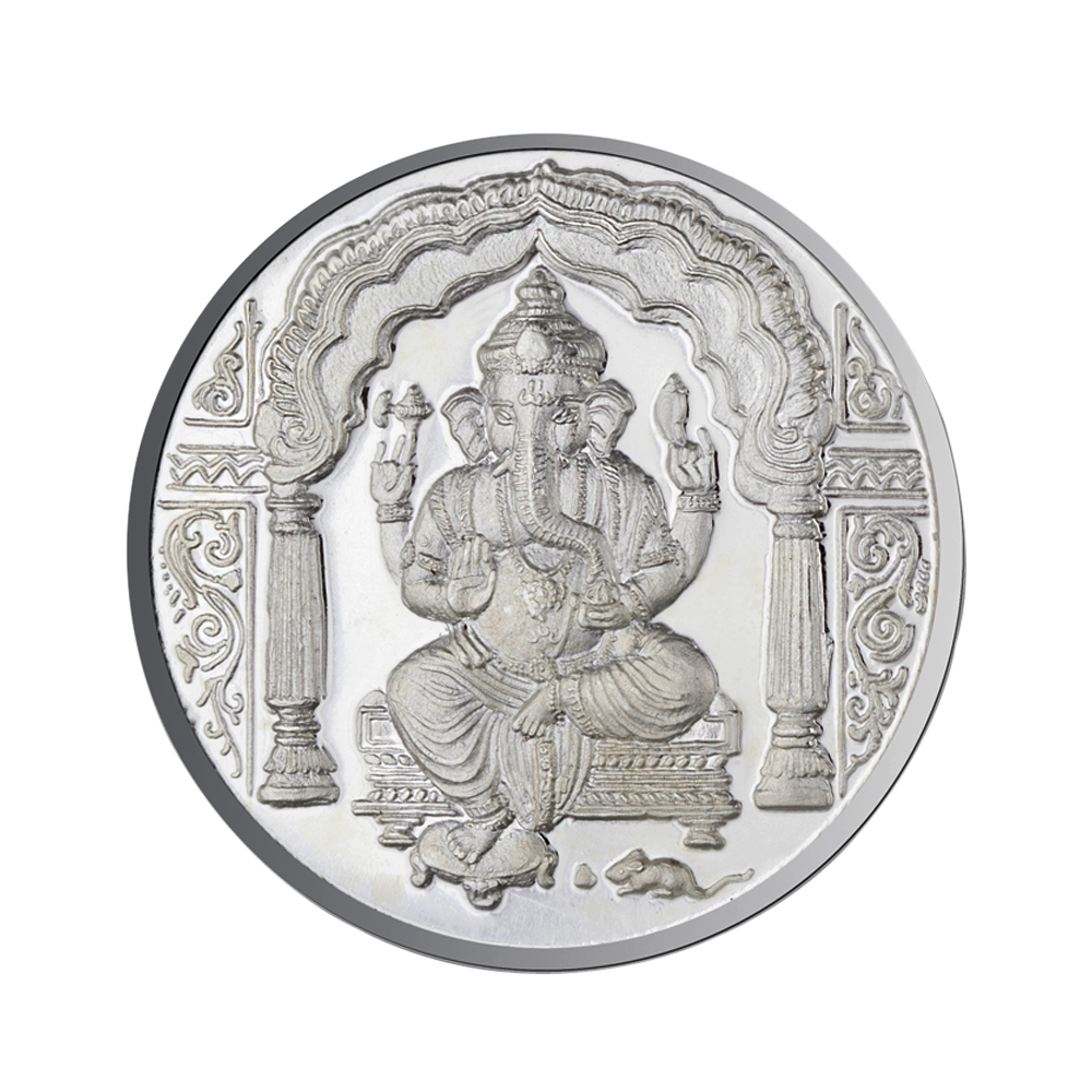 Lord Ganesh Coin In Pure Silver 500 Gms