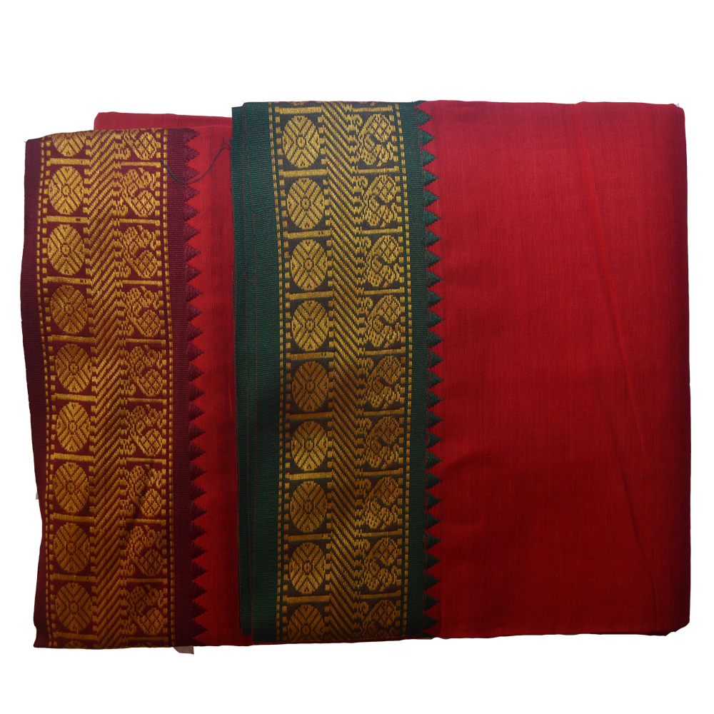 Red Dhoti With Shawl In Pure Cotton