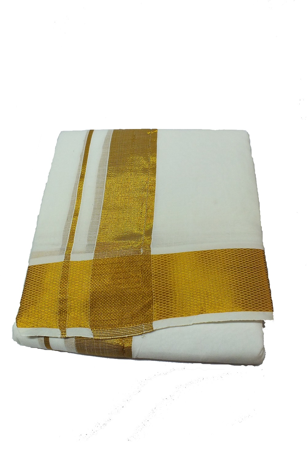 White Dhoti With Shawl In Pure Cotton Golden Border