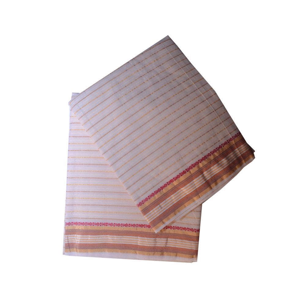 Cream Dhoti With Shawl In Pure Cotton
