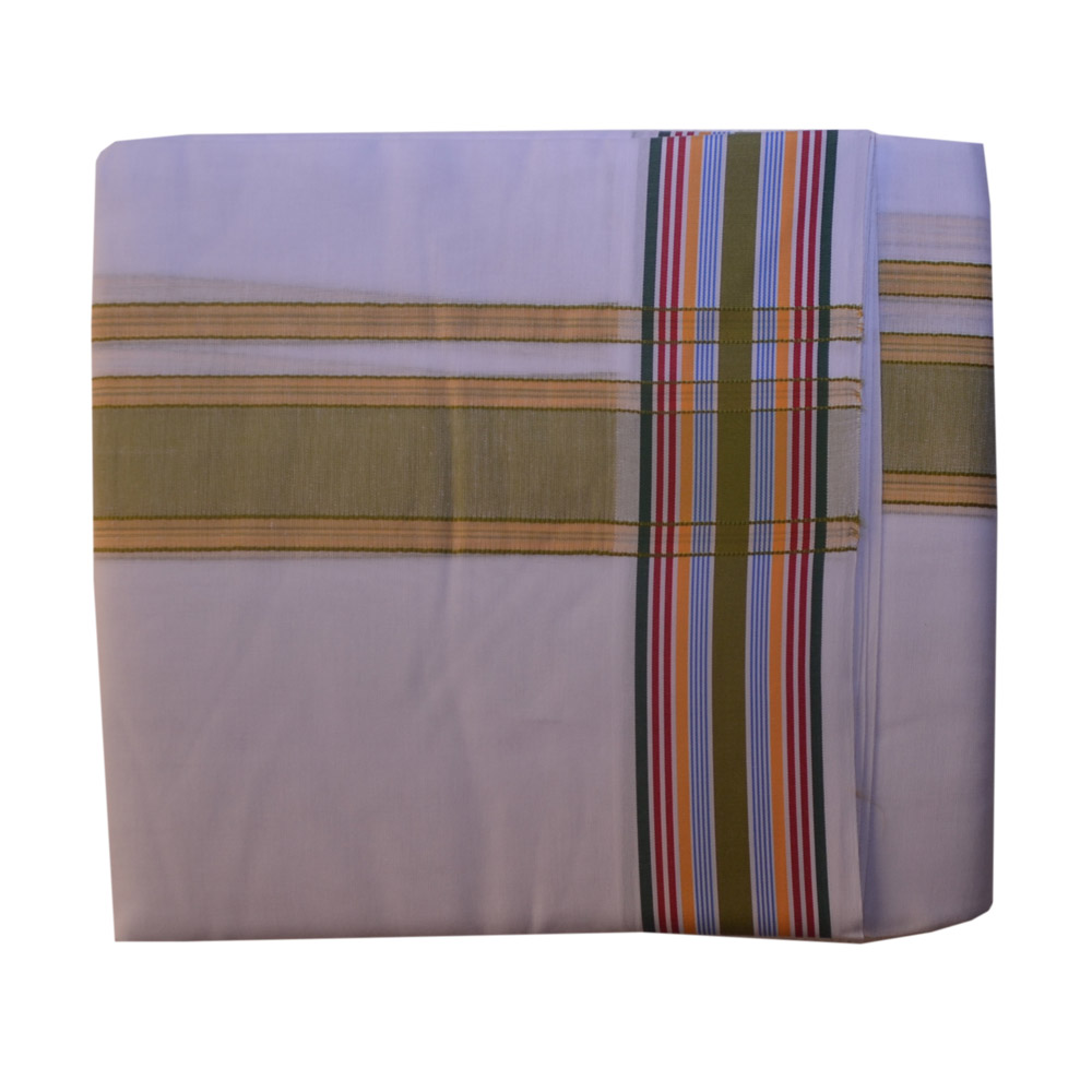 White Dhoti With Shawl In Pure Cotton