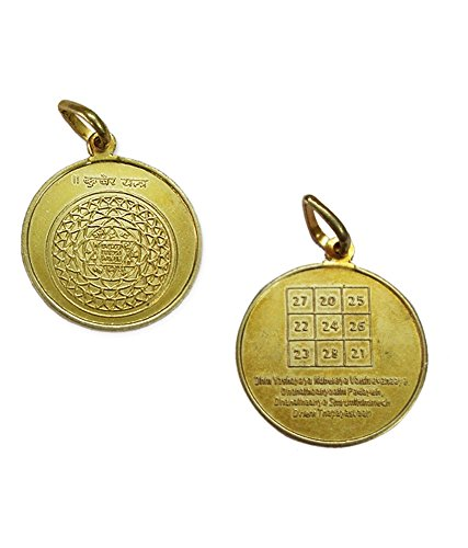 Kubera Yantra Pendant In Copper Gold Plated