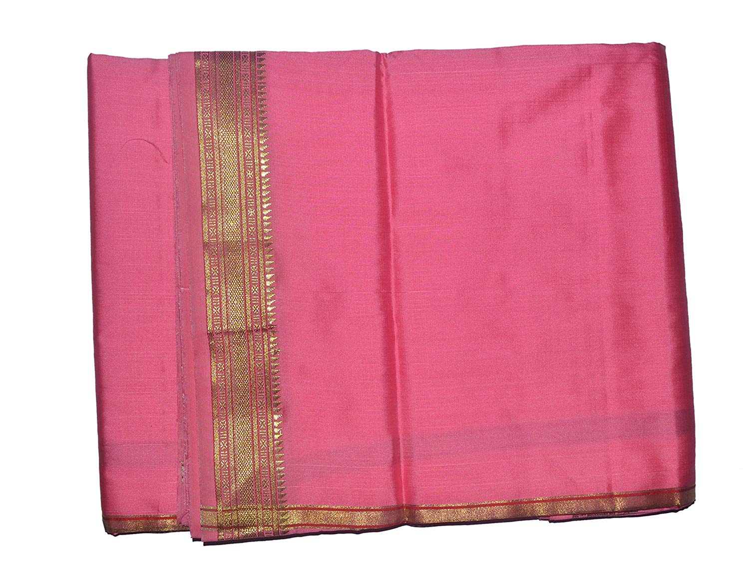 Pink Dhoti With Shawl In Pure Silk Golden Border