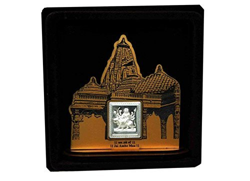 Ambe Mata Wooden Frame With Pure Silver Coin Of 7 Grams