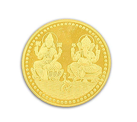 Ganesh Laxmi Coin In Pure Silver Gold Plated 5 Gms